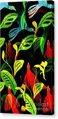Abstract Digital Canvas Print - Tropical Flock by Sarah Loft