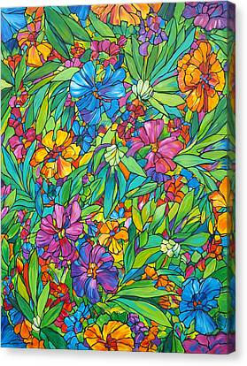 Tropical Colors Stain Glass Canvas Print - Tropical Floral Fabric by Judi Krew