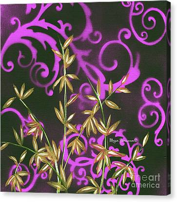 Tropical Floral Leaves Fine Art Painting In Magenta And Black By Megan Duncanson Canvas Print