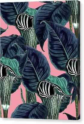 Tropical Flower Pattern Canvas Print by Uma Gokhale