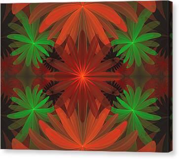 Tropical Flowers Canvas Print by Sandy Keeton