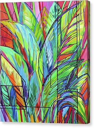 Tropical Colors Stain Glass Canvas Print - Tropical Glass Study by Judi Krew