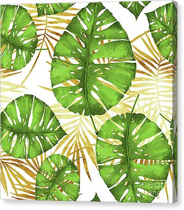 Tropical Haze Green Monstera Leaves And Golden Palm Fronds Canvas Print by Tina Lavoie