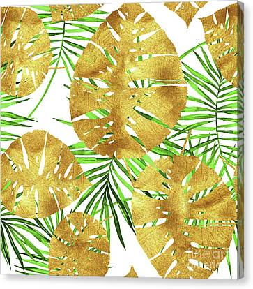 Tropical Haze II Gold Monstera Leaves And Green Palm Fronds Canvas Print by Tina Lavoie