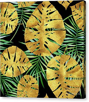 Tropical Haze Noir II Gold Monstera Leaves, Green Palm Fronds Canvas Print by Tina Lavoie