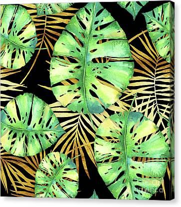 Tropical Haze Noir Variegated Monstera Leaves, Golden Palm Fronds On Black Canvas Print by Tina Lavoie