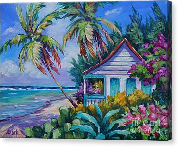 Tropical Island Cottage Canvas Print by John Clark