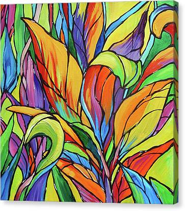 Tropical Colors Stain Glass Canvas Print - Tropical Leaves 3 by Judi Krew