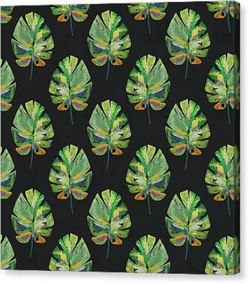 Botanical Beach Canvas Print - Tropical Leaves On Black- Art By Linda Woods by Linda Woods