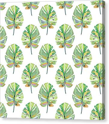 Tropical Leaves On White- Art By Linda Woods Canvas Print by Linda Woods