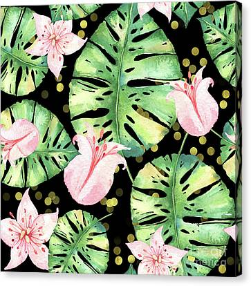 Tropical Monstera And Pink Tulip Pattern Canvas Print by Tina Lavoie