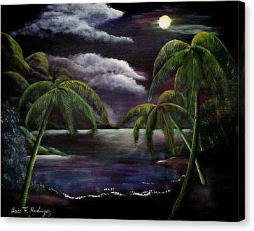 Tropical Moonlight Canvas Print by Luis F Rodriguez