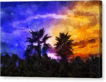 Canvas Print featuring the digital art Tropical Night Fall by Francesa Miller