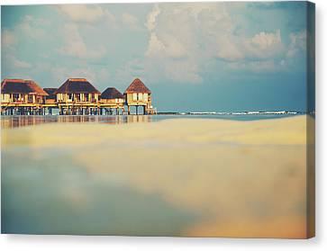 Srdjan Kirtic Canvas Print - Tropical Overwater Bungalow Resort Maldives by Srdjan Kirtic