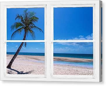 Tropical Paradise Whitewash Picture Window View Canvas Print