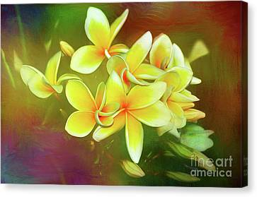 Canvas Print featuring the photograph Tropical Plumeria Art By Kaye Menner by Kaye Menner