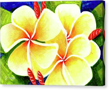 Tropical Plumeria Flowers #226 Canvas Print by Donald k Hall