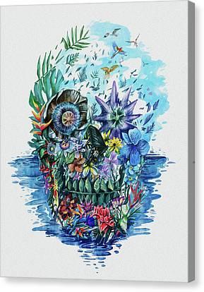 Tropical Skull 2 Canvas Print by Bekim Art