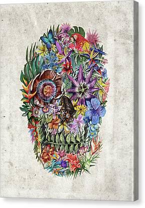 Tropical Skull Canvas Print by Bekim Art
