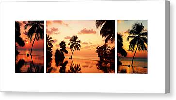 Tropical Sunset 1. Triptych Canvas Print by Jenny Rainbow