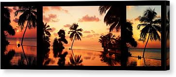Tropical Sunset 2. Triptych Canvas Print by Jenny Rainbow