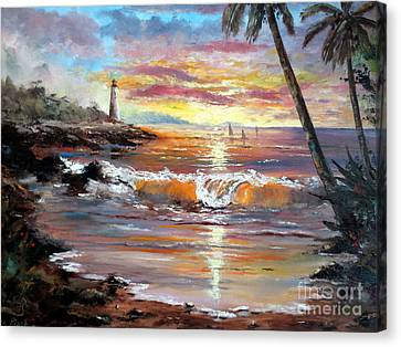 Tropical Sunset Canvas Print by Lee Piper