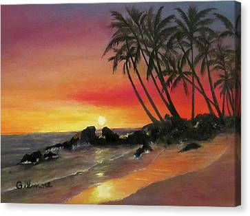 Canvas Print featuring the painting Tropical Sunset by Roseann Gilmore