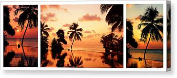 Tropical Sunset. Triptych Canvas Print by Jenny Rainbow