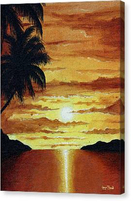 Canvas Print featuring the painting Tropical Sunset by Wayne Pascall