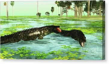 Tropical Uberabasuchus Marine Reptiles Canvas Print