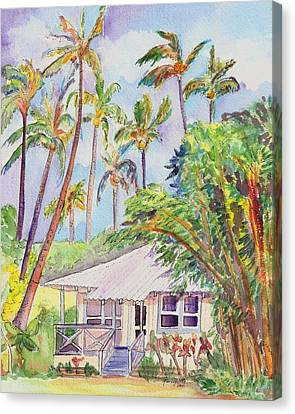 Bamboo House Canvas Print - Tropical Waimea Cottage by Marionette Taboniar