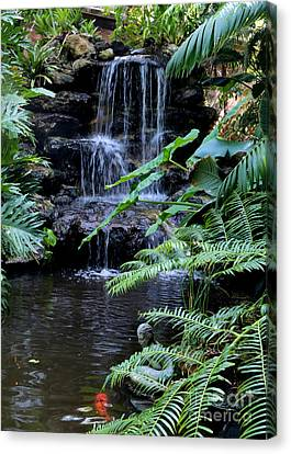 Tropical Waterfall With Koi Pond Canvas Print by Carol Groenen