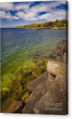 Tropical Waters Of Door County Wisconsin Canvas Print by Mark David Zahn