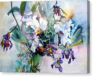 Purple. Iris. Buds Canvas Print - Tropical White Orchids by Mindy Newman
