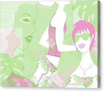 Flowers Miami Canvas Print - Tropical Women by Lisa Henderling