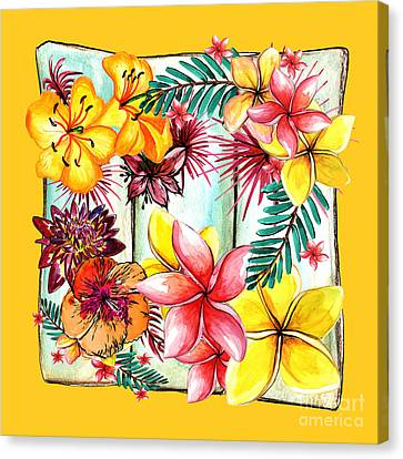 Out Of Frame Canvas Print - Tropicana On Yellow By Kaye Menner by Kaye Menner