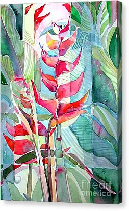 Tropicana Red Canvas Print by Mindy Newman