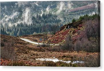 Canvas Print featuring the photograph Trossachs National Park In Scotland by Jeremy Lavender Photography