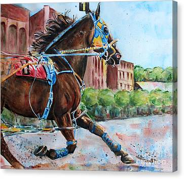Bay Horse Canvas Print - trotter standardbred Horse at the Little Brown Jug by Maria's Watercolor