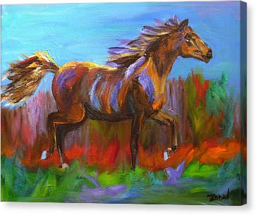 Trotting Canvas Print by Mary Jo Zorad