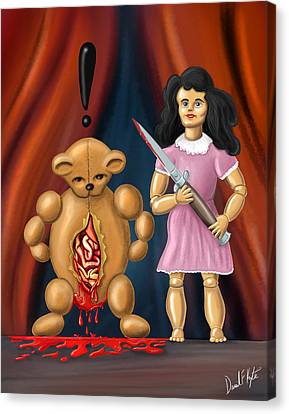 Doll Canvas Print - Trouble In Toyland by David Kyte
