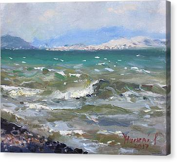 Aegean Canvas Print - Troubled Aegean Sea Greece by Ylli Haruni