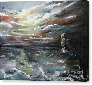 Canvas Print featuring the painting Troubled Waters Complete by Isabella F Abbie Shores FRSA