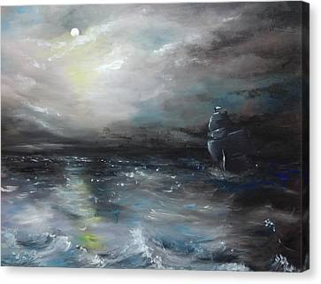 Canvas Print featuring the painting Troubled Waters by Isabella F Abbie Shores FRSA