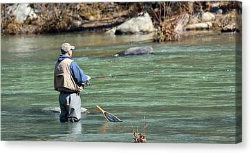 Trout Stream Landscape Canvas Print - Trout Fishing by Todd Hostetter