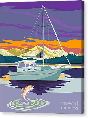 Speckled Trout Canvas Print - Trout Jumping Boat by Aloysius Patrimonio
