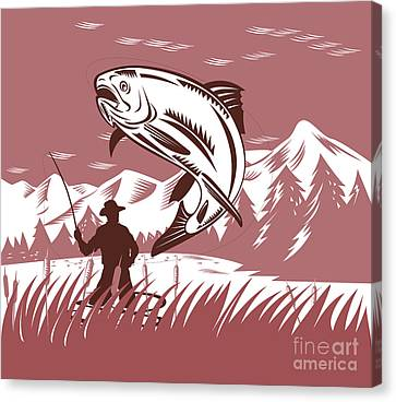 Trout Jumping Fisherman Canvas Print by Aloysius Patrimonio