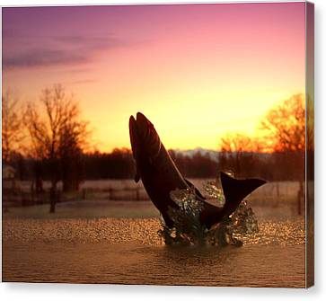 Trout Sunrise Canvas Print by Joyce Dickens