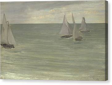 Trouville  Grey And Green, The Silver Sea Canvas Print