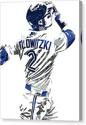 Troy Tulowitzki Toronto Blue Jays Pixel Art 2 Canvas Print by Joe Hamilton